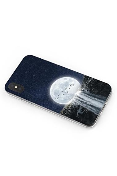 Lopard iPhone Xs Max Kılıf Silikon Arka Kapak Koruyucu Ay Şelale Desenli Full HD Baskılı Renkli